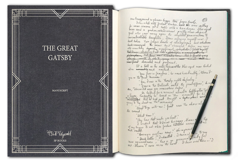 the great gatsby open manuscript