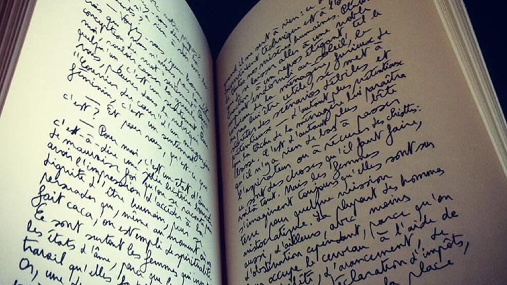open book handwriting