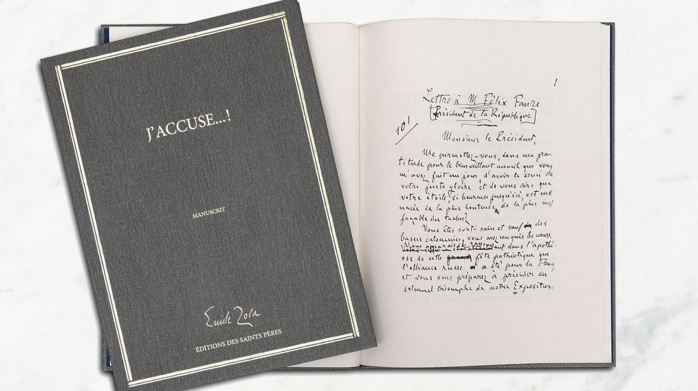 J'accuse, le manuscrit d'Emile Zola