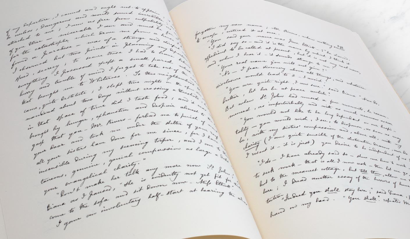 Manuskript von Jane Eyre : Buch geöffnet