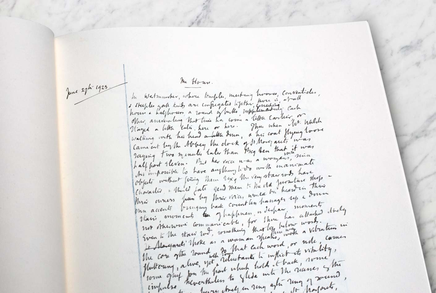 Mrs Dalloway: first opening on the first page of notebook one