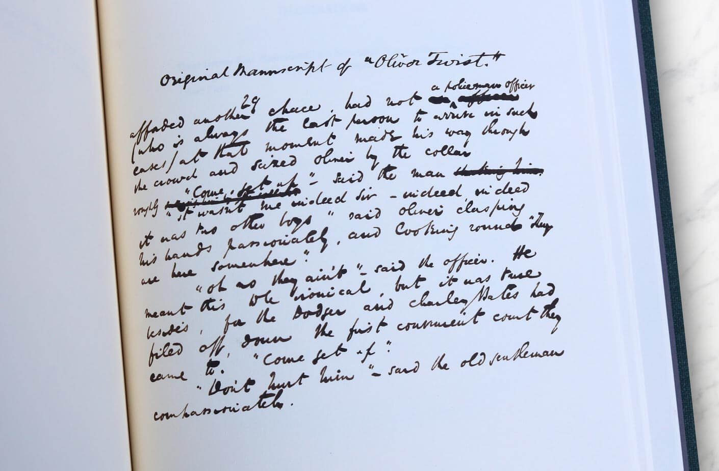 Oliver twist original manuscript, by Charles Dickens