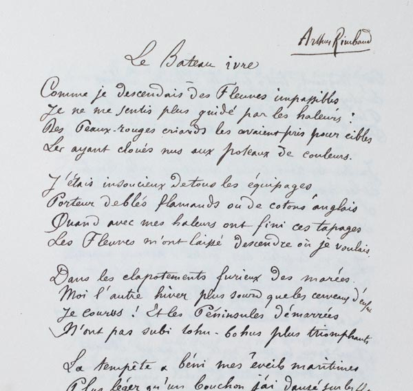 Manuscrits Darthur Rimbaud