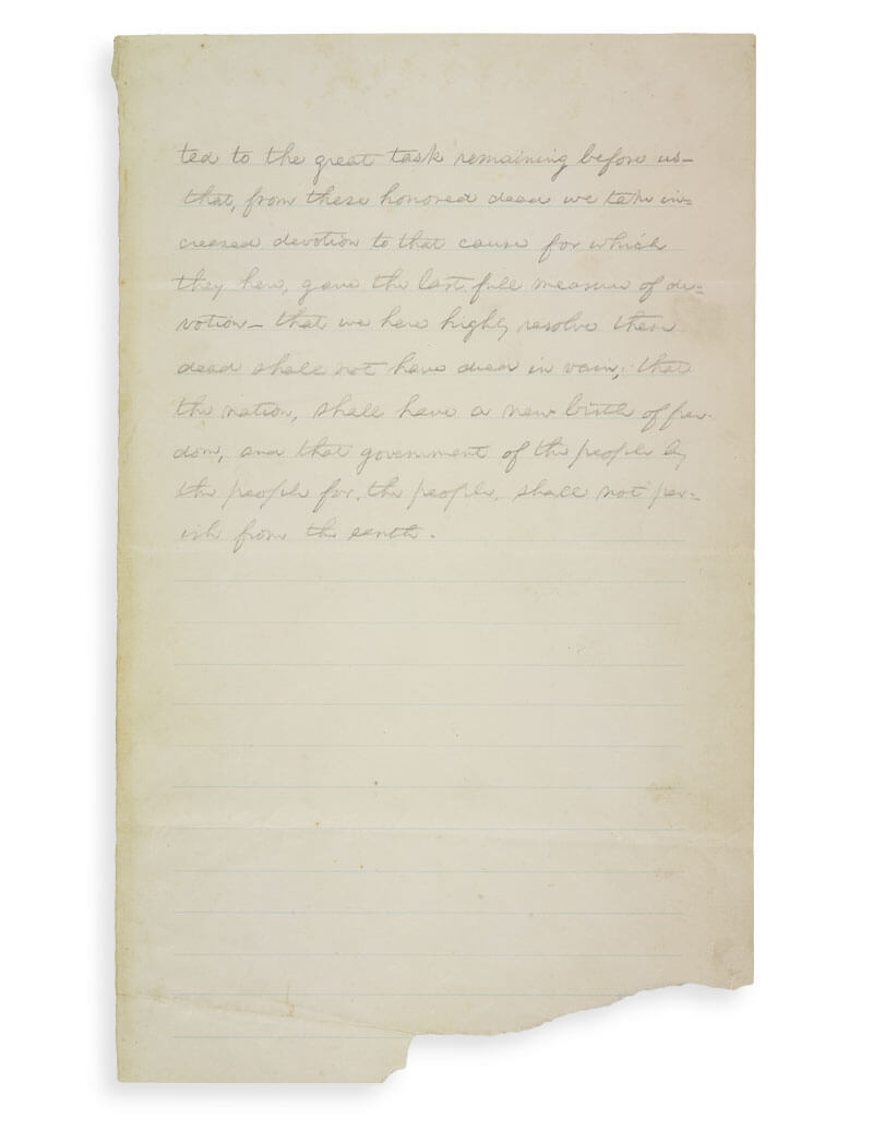 Manuscrit d'Abraham Lincoln