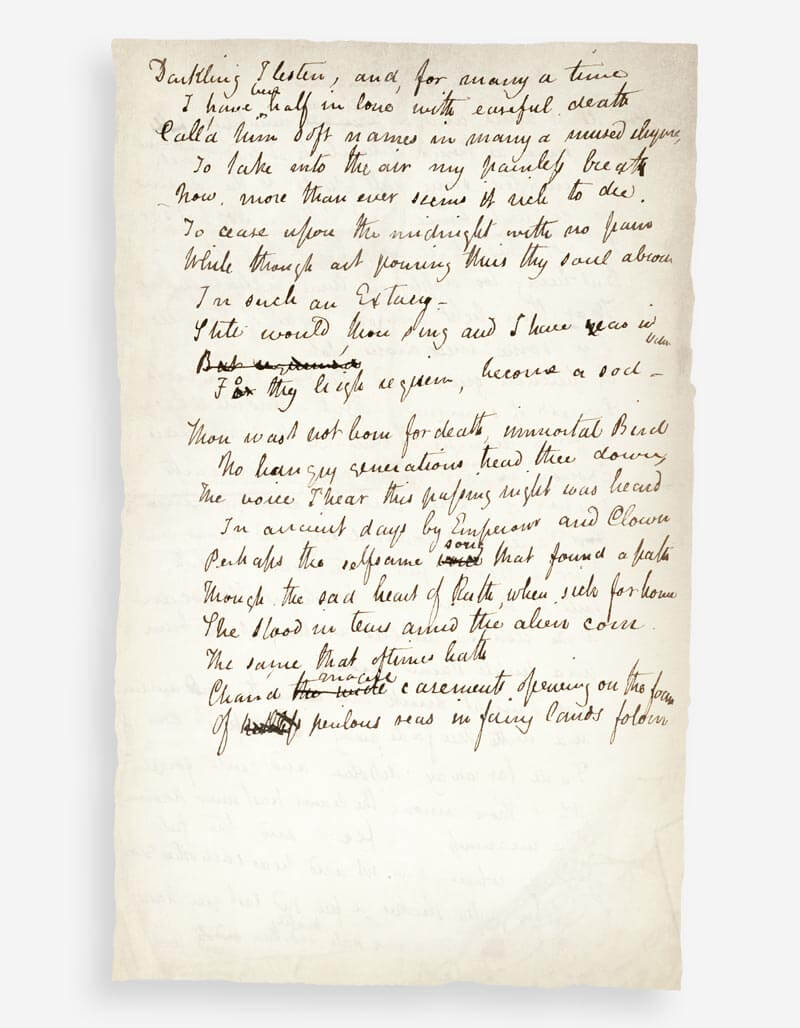 Ode to a Nightingale - John Keats' manuscript