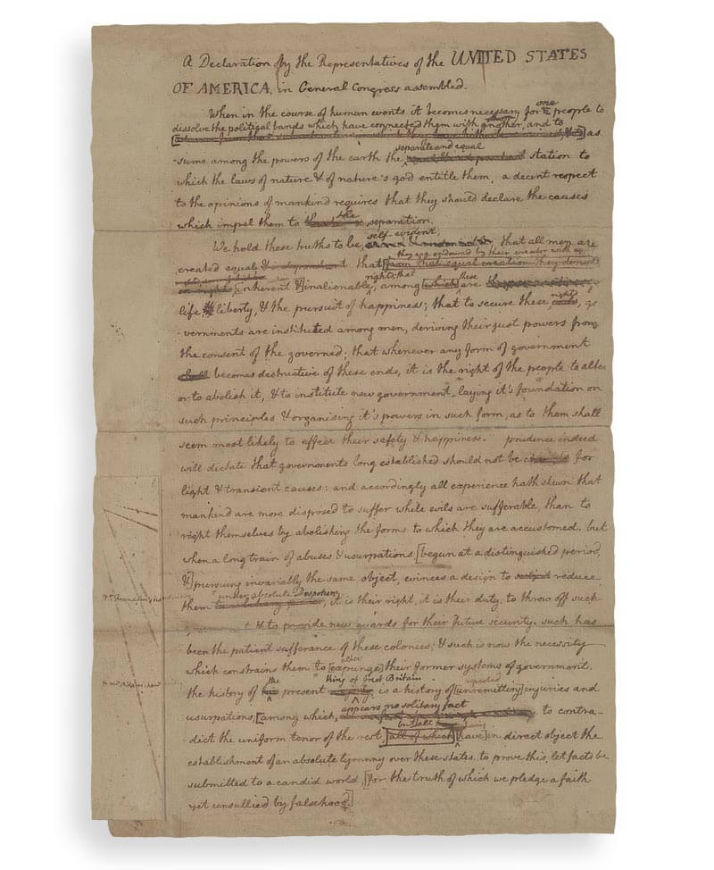 The Manuscript of the United States declaration of independence by Thomas Jefferson