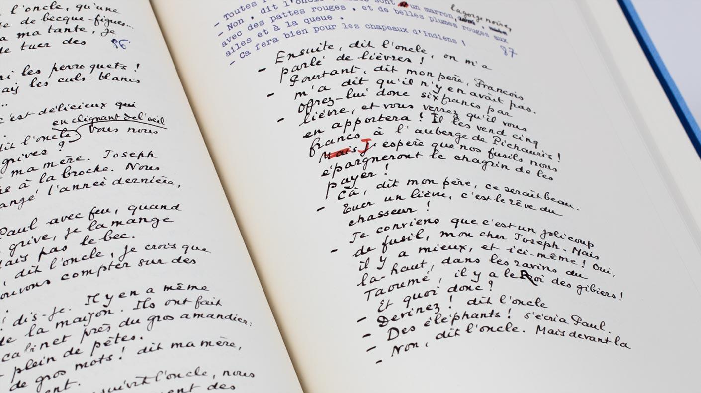 La Gloire de mon Père - manuscrit ouvert