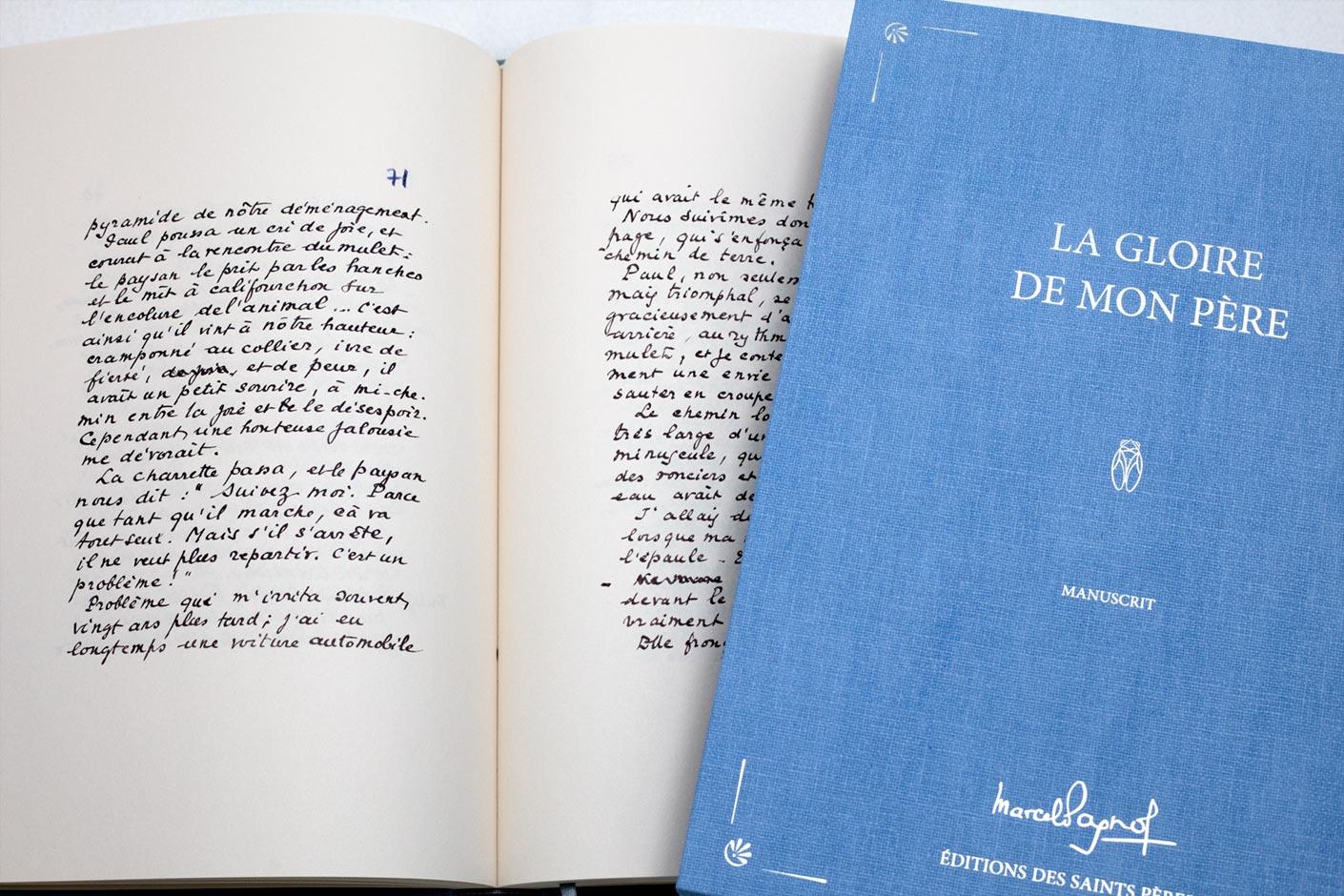le manuscrit de Marcel Pagnol avec l'étui - Editions des Saints Pères
