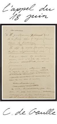 L'appel du 18 Juin Tableau Manuscrit