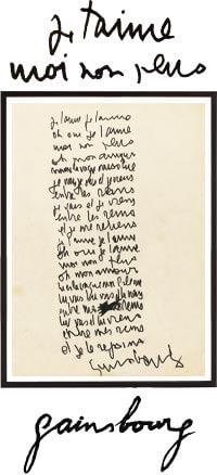 Je t'aime moi non plus Tableau Manuscrit